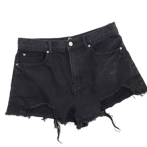 Forever 21 High Rise Distressed Shorts Black 30